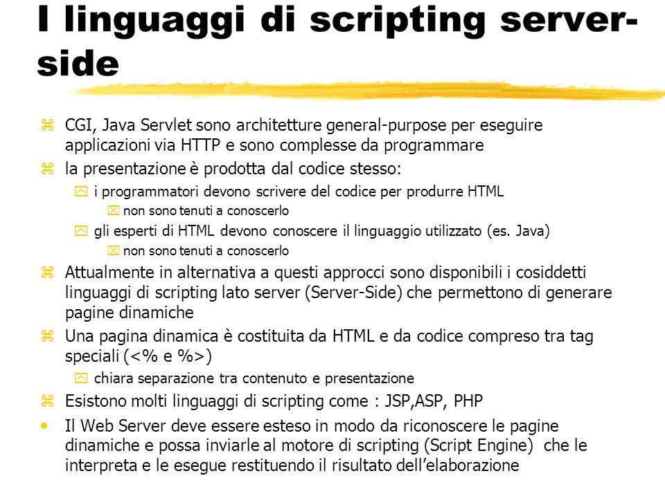 I linguaggi di scripting server-side
