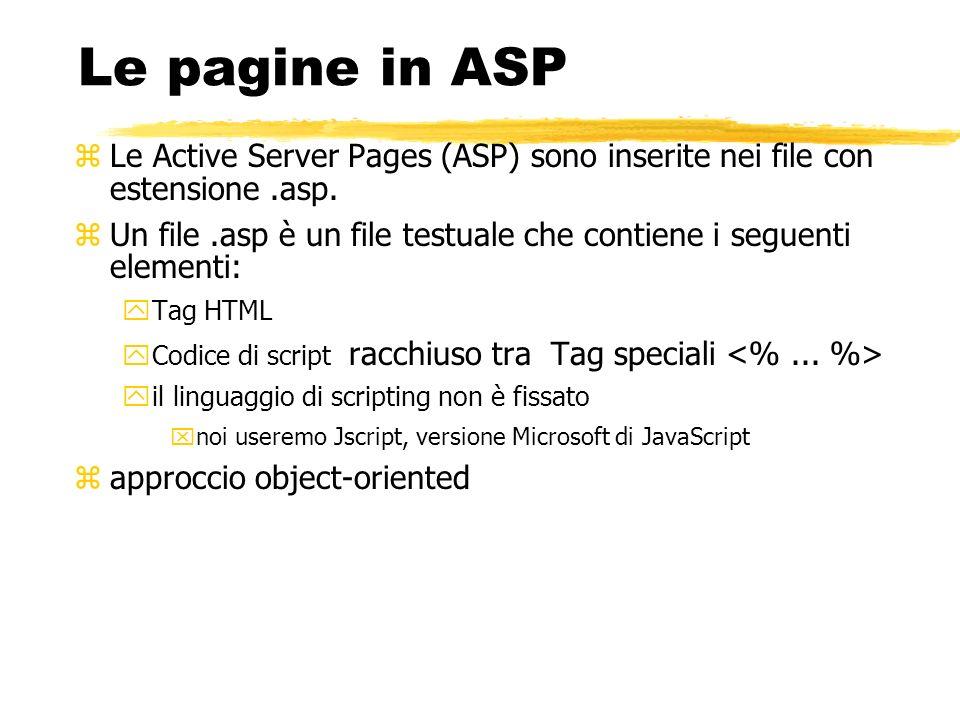 Le pagine in ASPLe Active Server Pages (ASP) sono inserite nei file con estensione .asp.