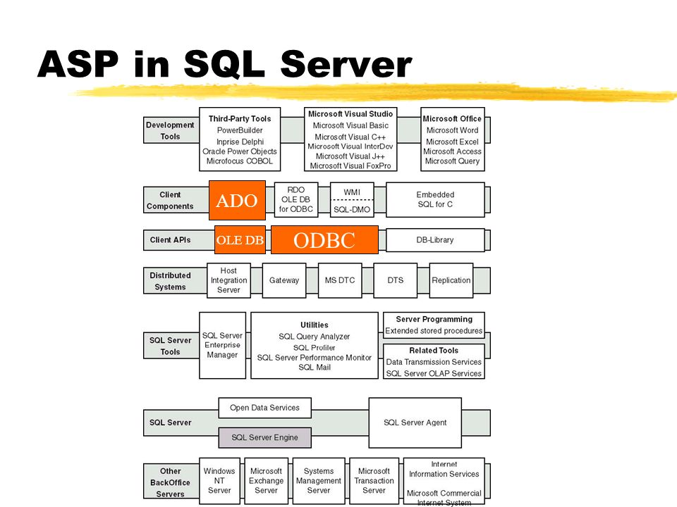 ASP in SQL Server ADO OLE DB ODBC