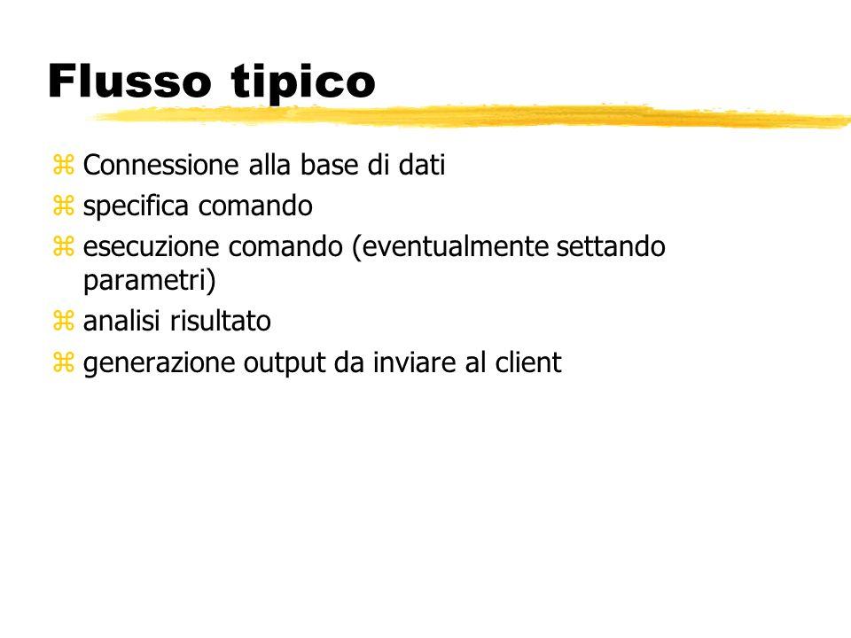Flusso tipico Connessione alla base di dati specifica comando