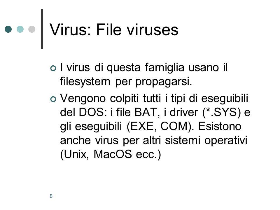 Virus: File viruses I virus di questa famiglia usano il filesystem per propagarsi.