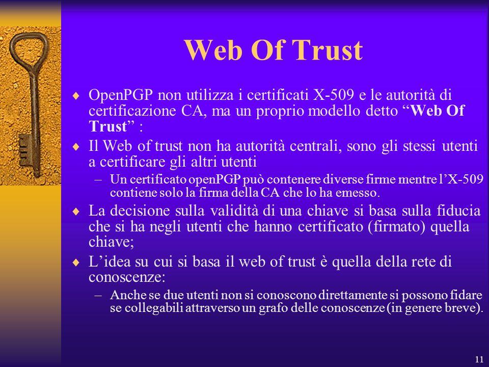 Web Of Trust OpenPGP non utilizza i certificati X-509 e le autorità di certificazione CA, ma un proprio modello detto Web Of Trust :