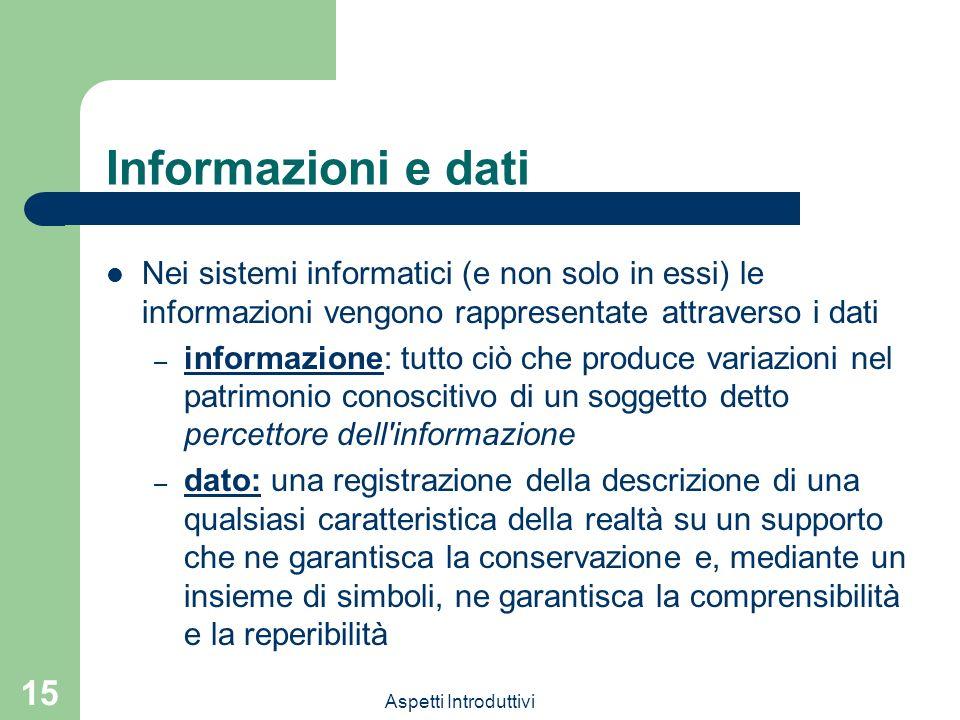 Informazioni e dati Nei sistemi informatici (e non solo in essi) le informazioni vengono rappresentate attraverso i dati.