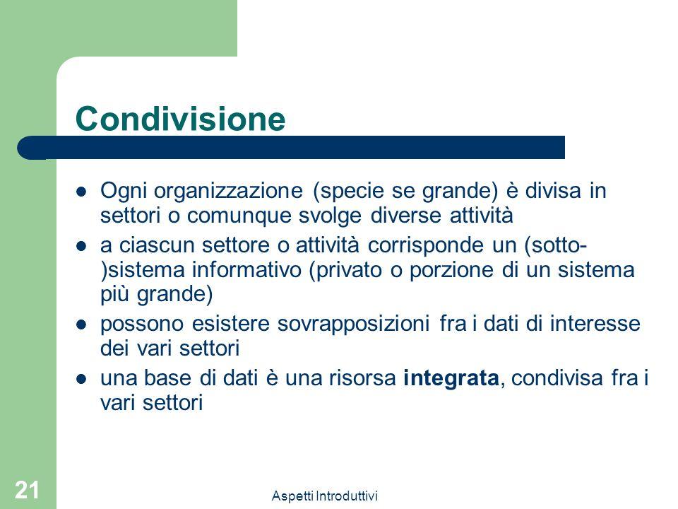 Condivisione Ogni organizzazione (specie se grande) è divisa in settori o comunque svolge diverse attività.