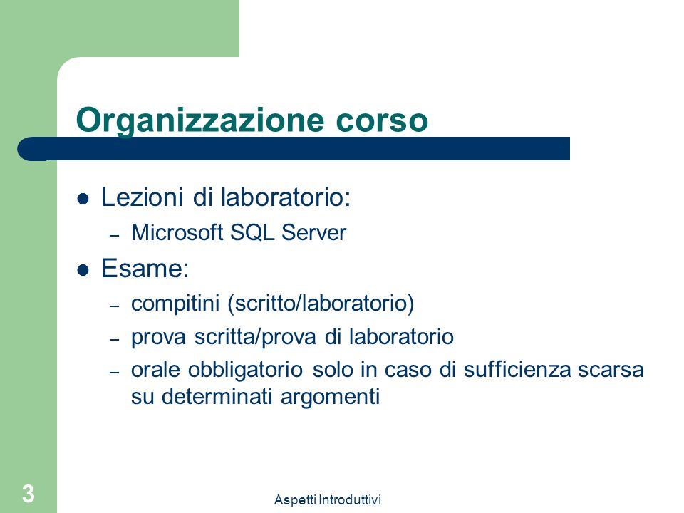 Organizzazione corso Lezioni di laboratorio: Esame: