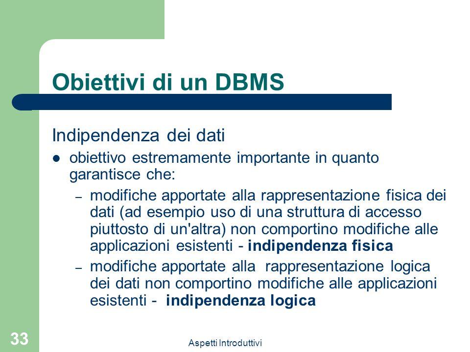 Obiettivi di un DBMS Indipendenza dei dati