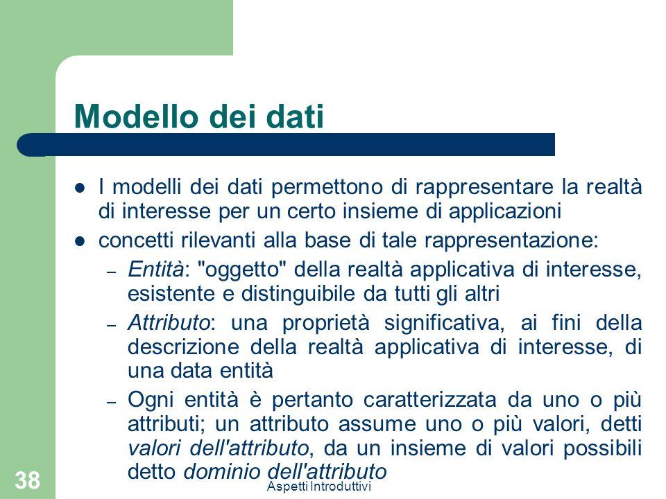 Modello dei dati I modelli dei dati permettono di rappresentare la realtà di interesse per un certo insieme di applicazioni.