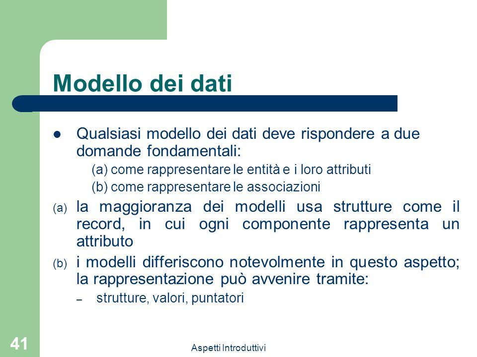 Modello dei dati Qualsiasi modello dei dati deve rispondere a due domande fondamentali: (a) come rappresentare le entità e i loro attributi.