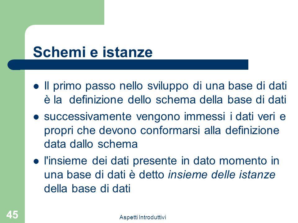 Schemi e istanze Il primo passo nello sviluppo di una base di dati è la definizione dello schema della base di dati.