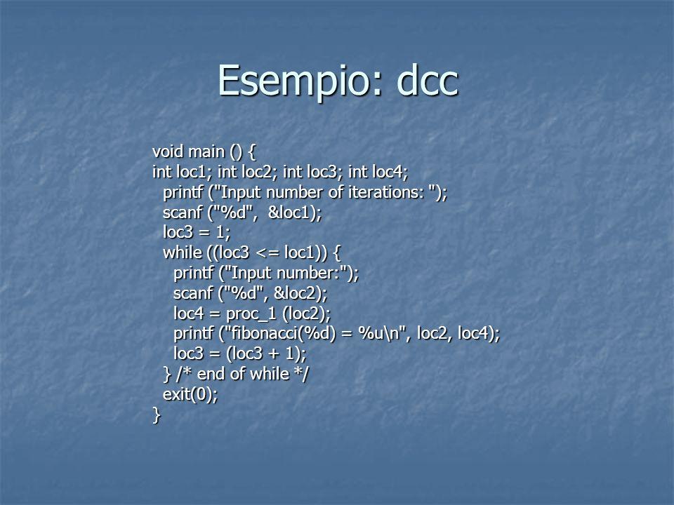 Esempio: dcc void main () { int loc1; int loc2; int loc3; int loc4;