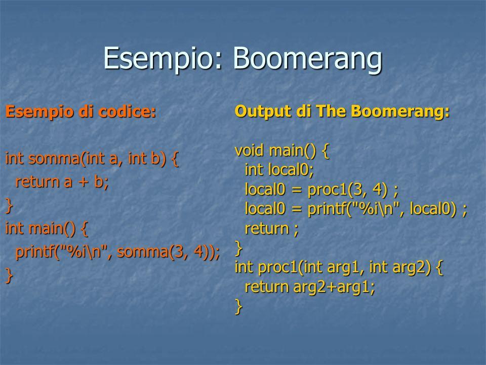 Esempio: Boomerang Esempio di codice: int somma(int a, int b) {