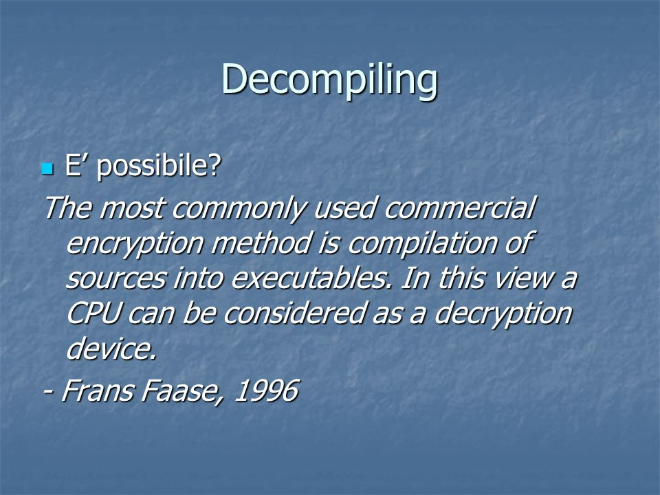Decompiling E' possibile