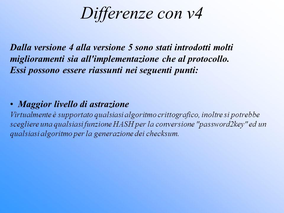 Differenze con v4 Dalla versione 4 alla versione 5 sono stati introdotti molti miglioramenti sia all implementazione che al protocollo.