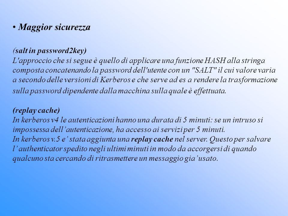 Maggior sicurezza (salt in password2key)