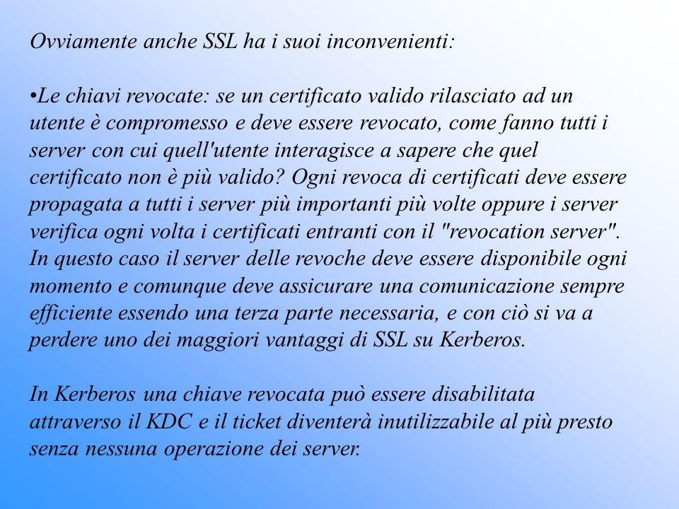 Ovviamente anche SSL ha i suoi inconvenienti: