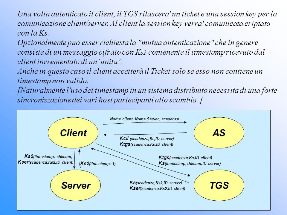 Una volta autenticato il client, il TGS rilascera un ticket e una session key per la comunicazione client/server. Al client la session key verra comunicata criptata con la Ks.