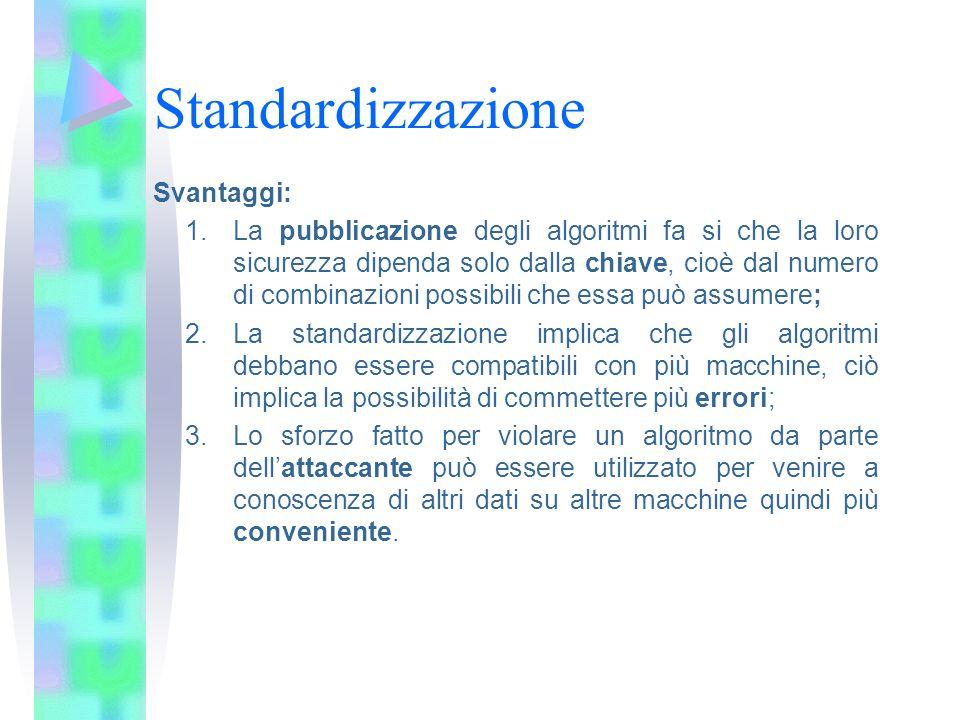 Standardizzazione Svantaggi: