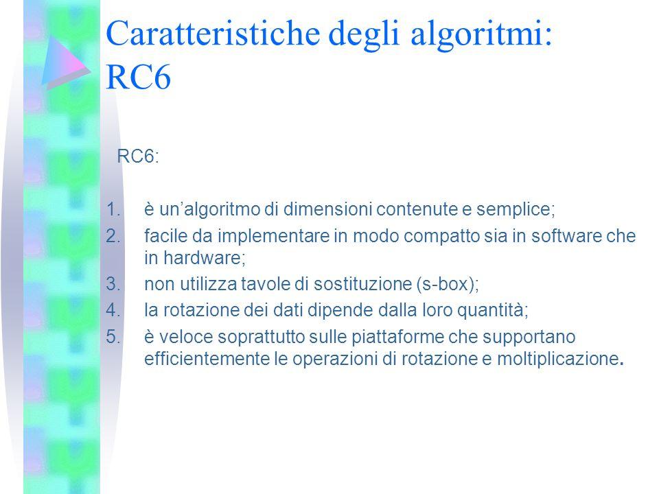 Caratteristiche degli algoritmi: RC6