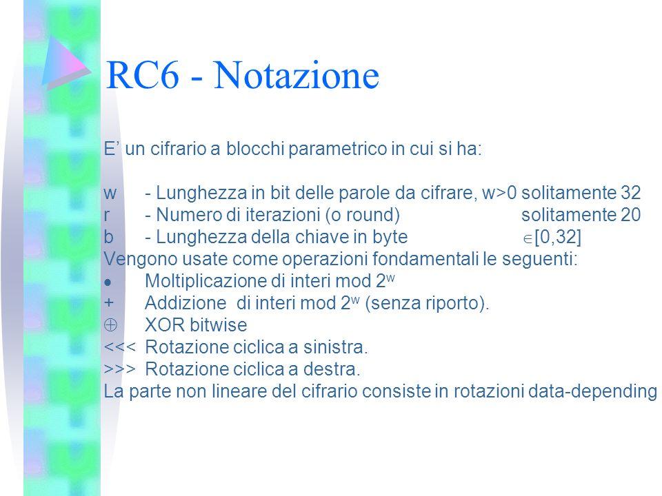 RC6 - Notazione E' un cifrario a blocchi parametrico in cui si ha: