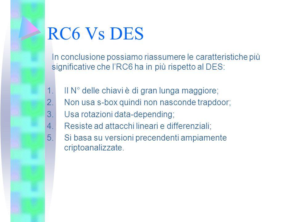 RC6 Vs DES In conclusione possiamo riassumere le caratteristiche più significative che l'RC6 ha in più rispetto al DES: