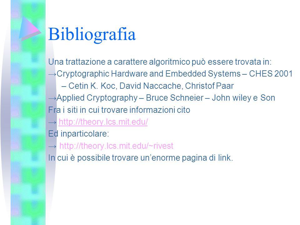 Bibliografia Una trattazione a carattere algoritmico può essere trovata in: →Cryptographic Hardware and Embedded Systems – CHES 2001.