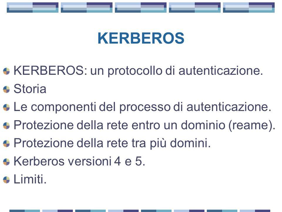 KERBEROS KERBEROS: un protocollo di autenticazione. Storia