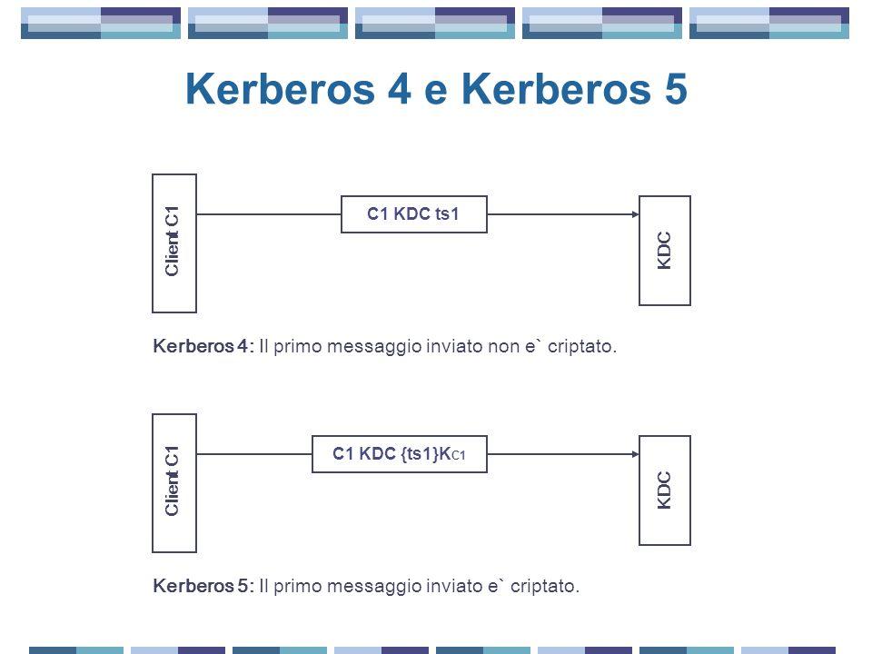 Kerberos 4 e Kerberos 5 Client C1. KDC. C1 KDC ts1. Kerberos 4: Il primo messaggio inviato non e` criptato.