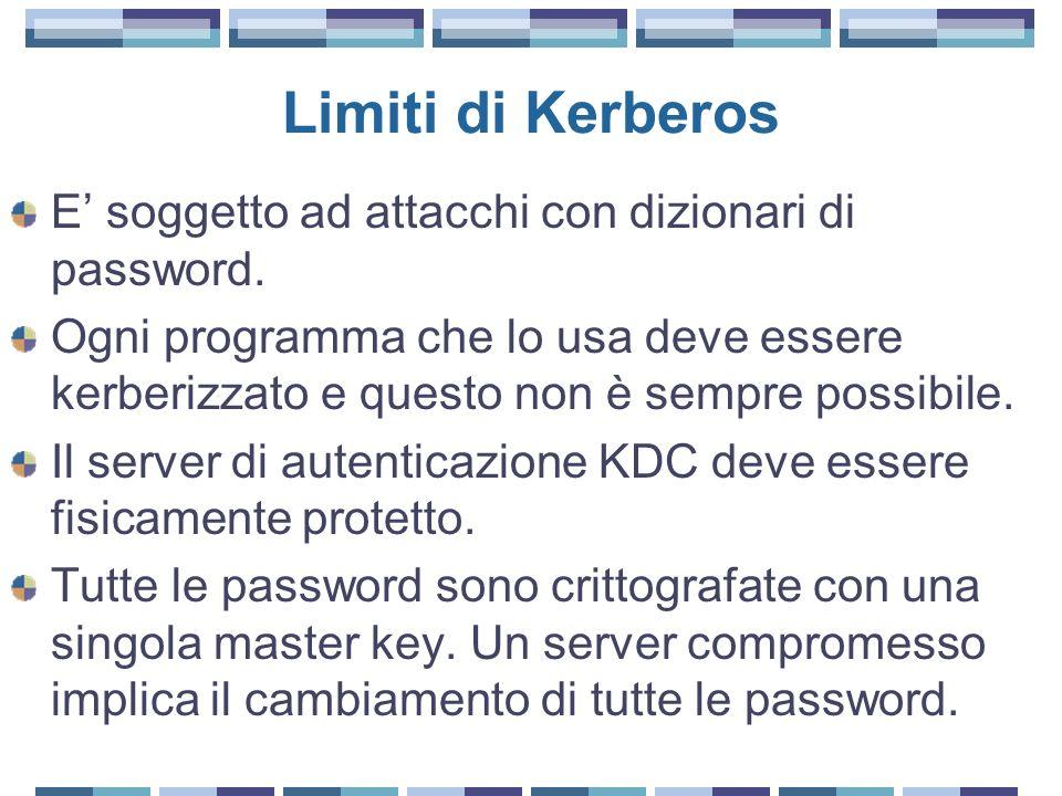 Limiti di Kerberos E' soggetto ad attacchi con dizionari di password.