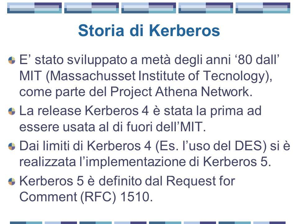 Storia di Kerberos E' stato sviluppato a metà degli anni '80 dall' MIT (Massachusset Institute of Tecnology), come parte del Project Athena Network.