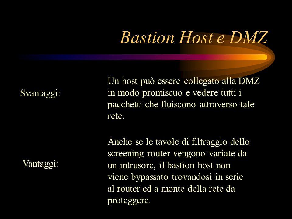 Bastion Host e DMZ Un host può essere collegato alla DMZ in modo promiscuo e vedere tutti i pacchetti che fluiscono attraverso tale rete.