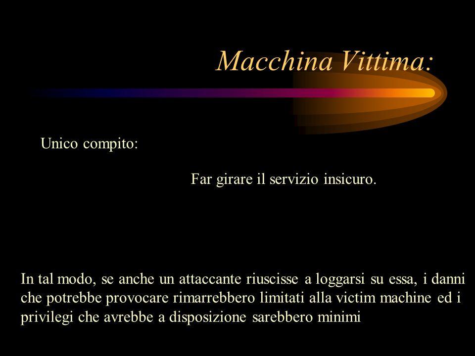 Macchina Vittima: Unico compito: Far girare il servizio insicuro.