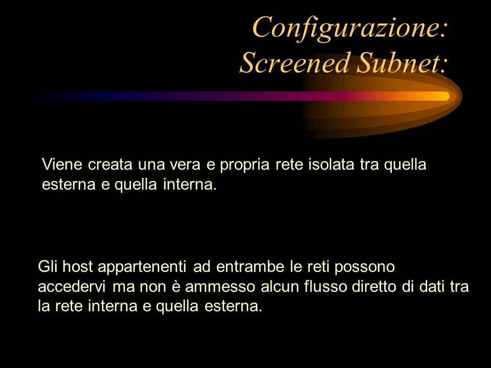 Configurazione: Screened Subnet:
