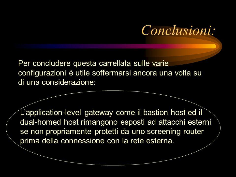 Conclusioni: Per concludere questa carrellata sulle varie configurazioni è utile soffermarsi ancora una volta su di una considerazione: