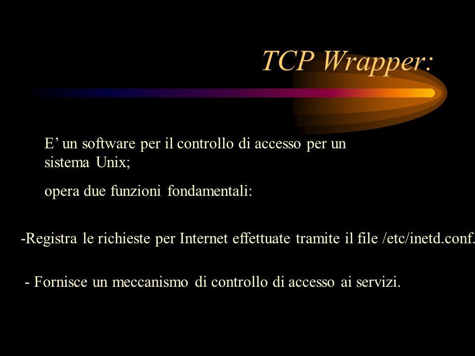 TCP Wrapper:E' un software per il controllo di accesso per un sistema Unix; opera due funzioni fondamentali: