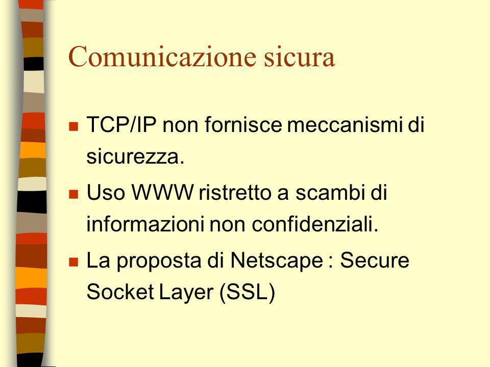 Comunicazione sicura TCP/IP non fornisce meccanismi di sicurezza.
