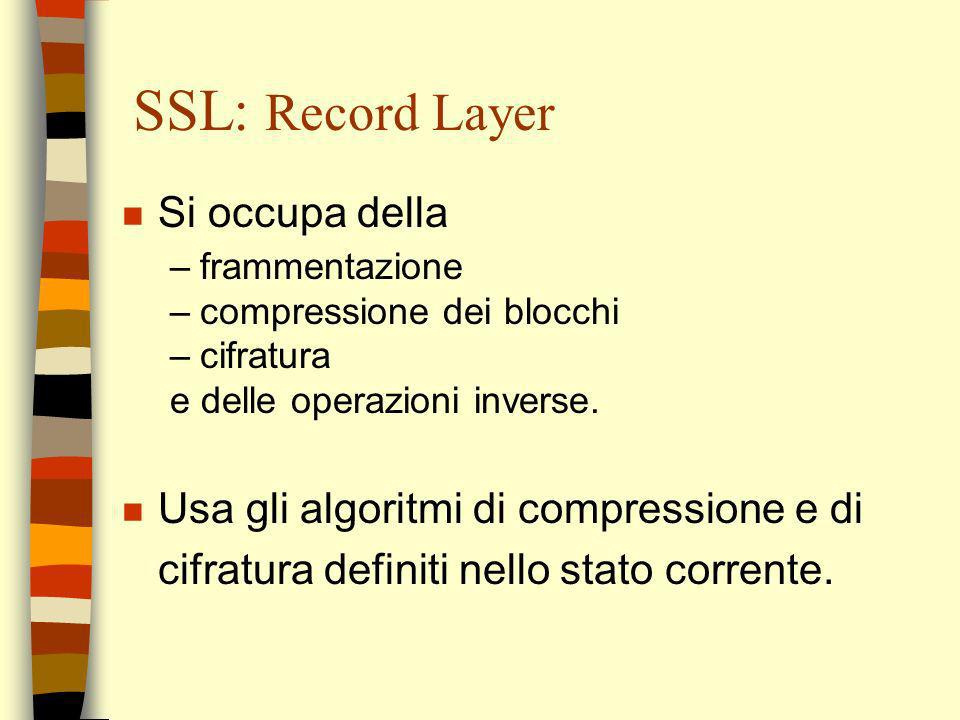 SSL: Record Layer Si occupa della