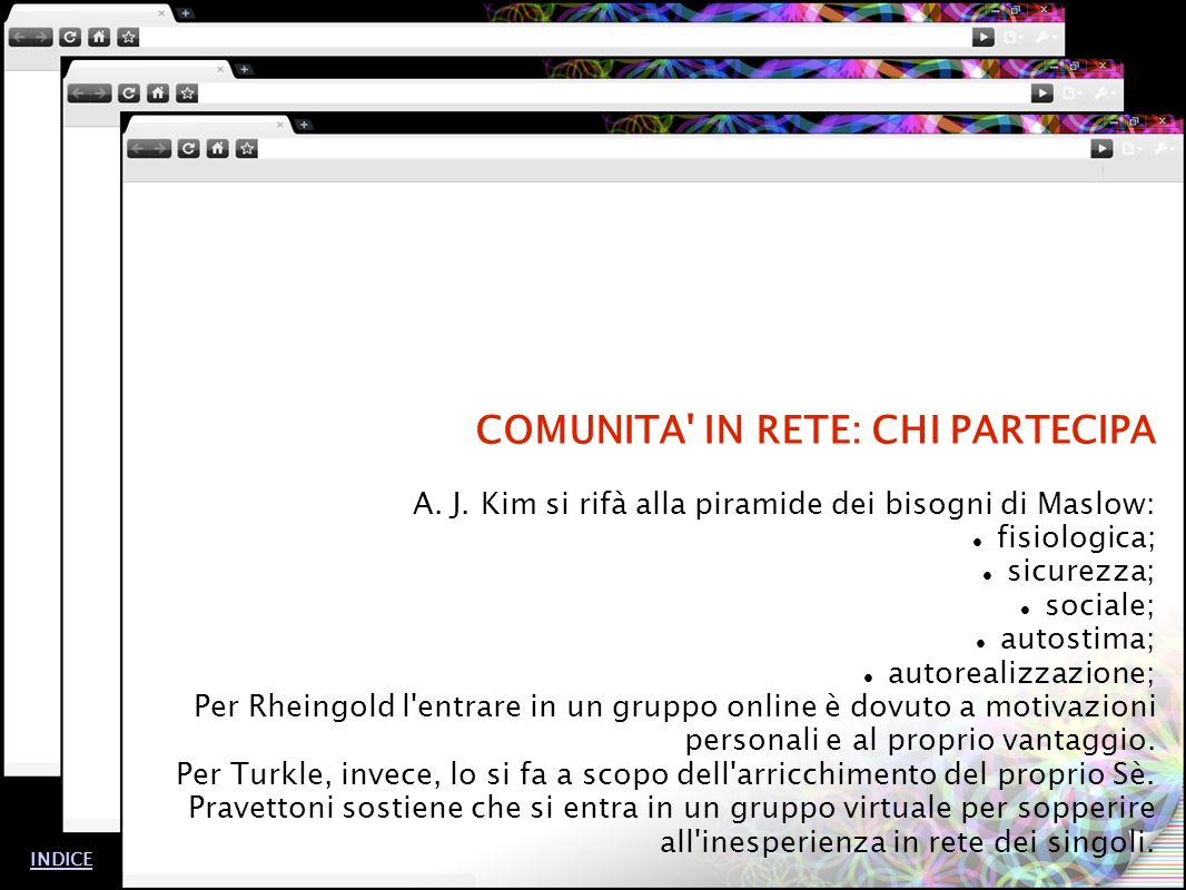 COMUNITA IN RETE: CHI PARTECIPA