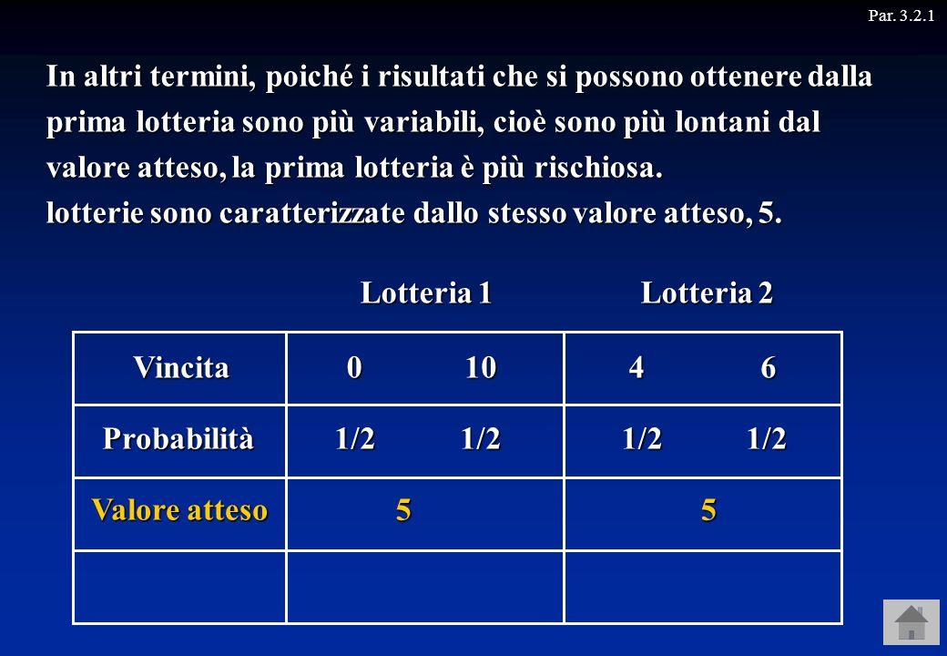 Par. 3.2.1 Naturalmente, poiché la moneta non è truccata, la probabilità che esca croce oppure testa è sempre 1/2.