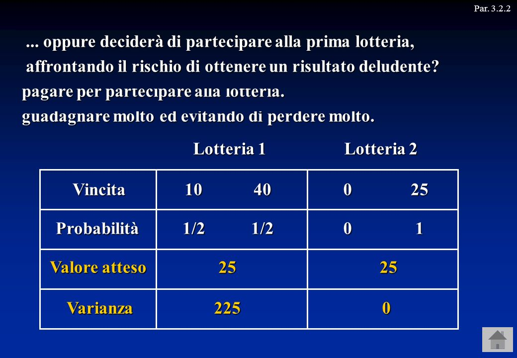 Lotteria 1 Lotteria 2 Vincita 10 40 25 1/2 1/2 1 25 Varianza 225