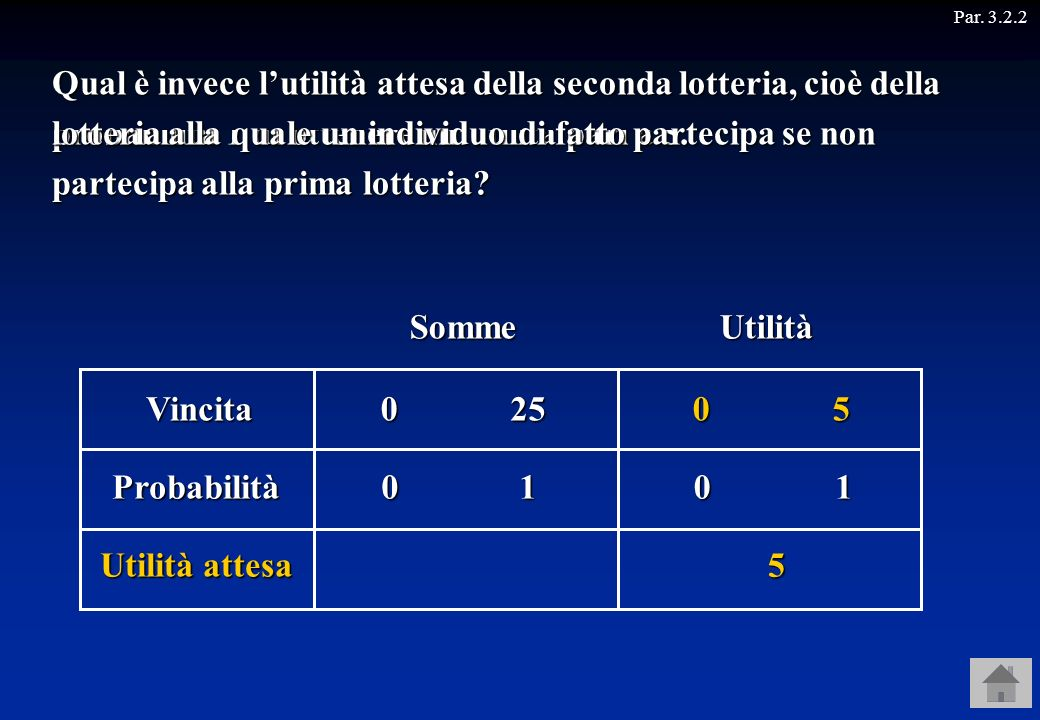 Par. 3.2.2Quindi, l'utilità che l'individuo può aspettarsi di ottenere dalla seconda lotteria è 5.