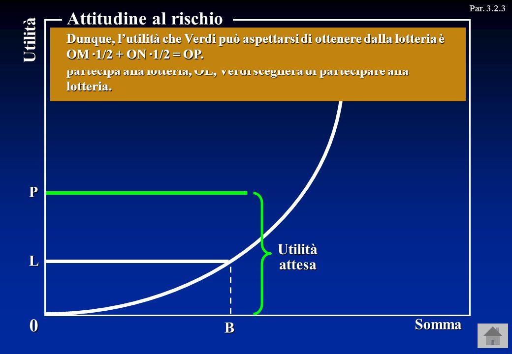 Attitudine al rischio Utilità Somma N P Utilità attesa L M A B C