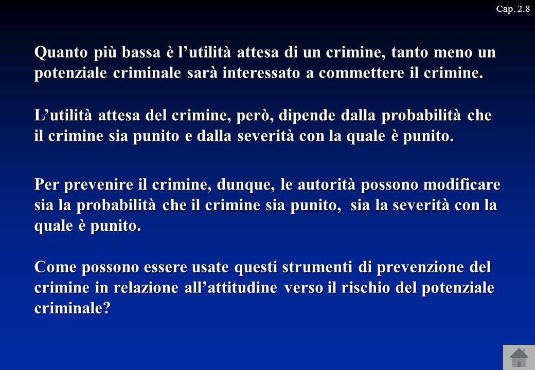 Cap. 2.8 Quanto più bassa è l'utilità attesa di un crimine, tanto meno un potenziale criminale sarà interessato a commettere il crimine.