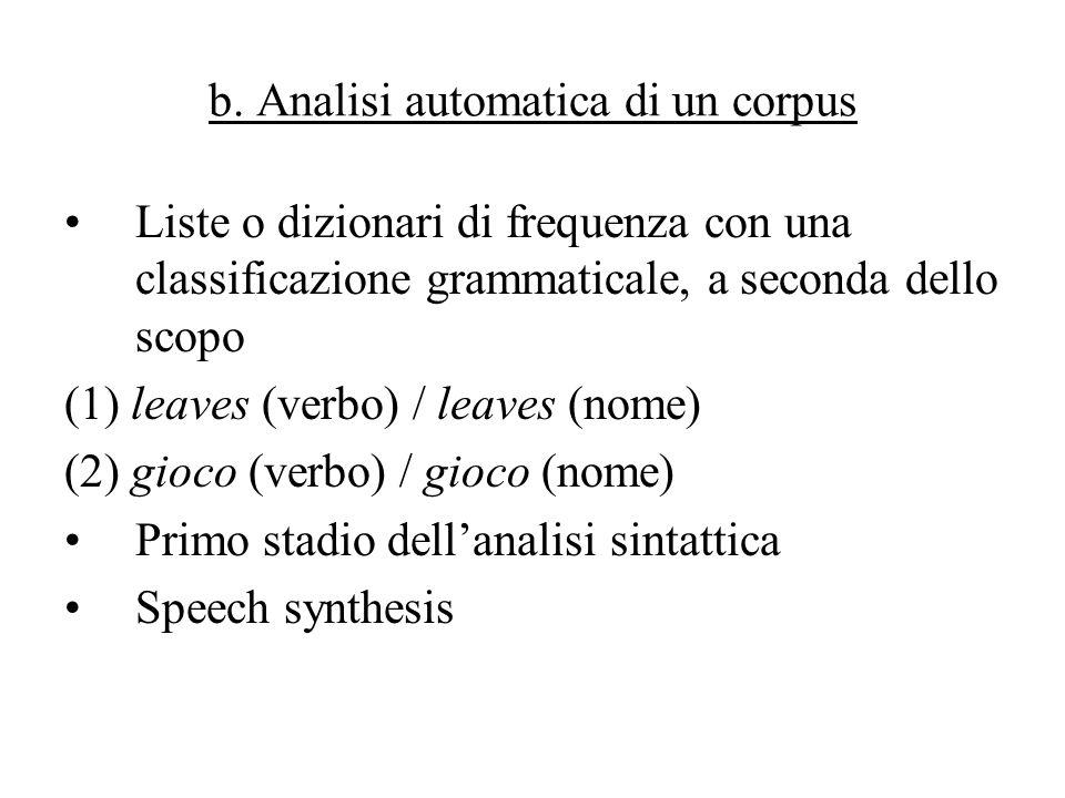 b. Analisi automatica di un corpus