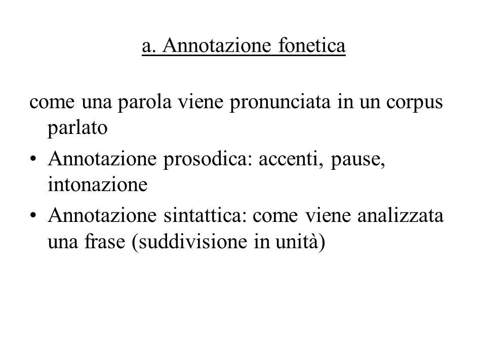 a. Annotazione fonetica