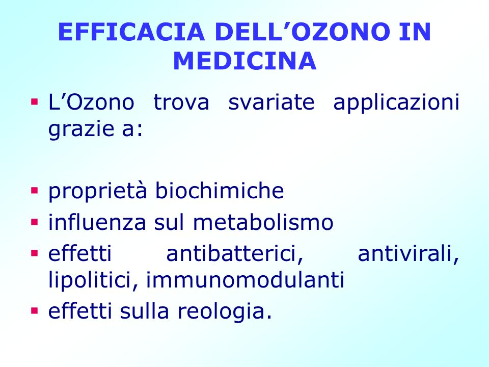 EFFICACIA DELL'OZONO IN MEDICINA