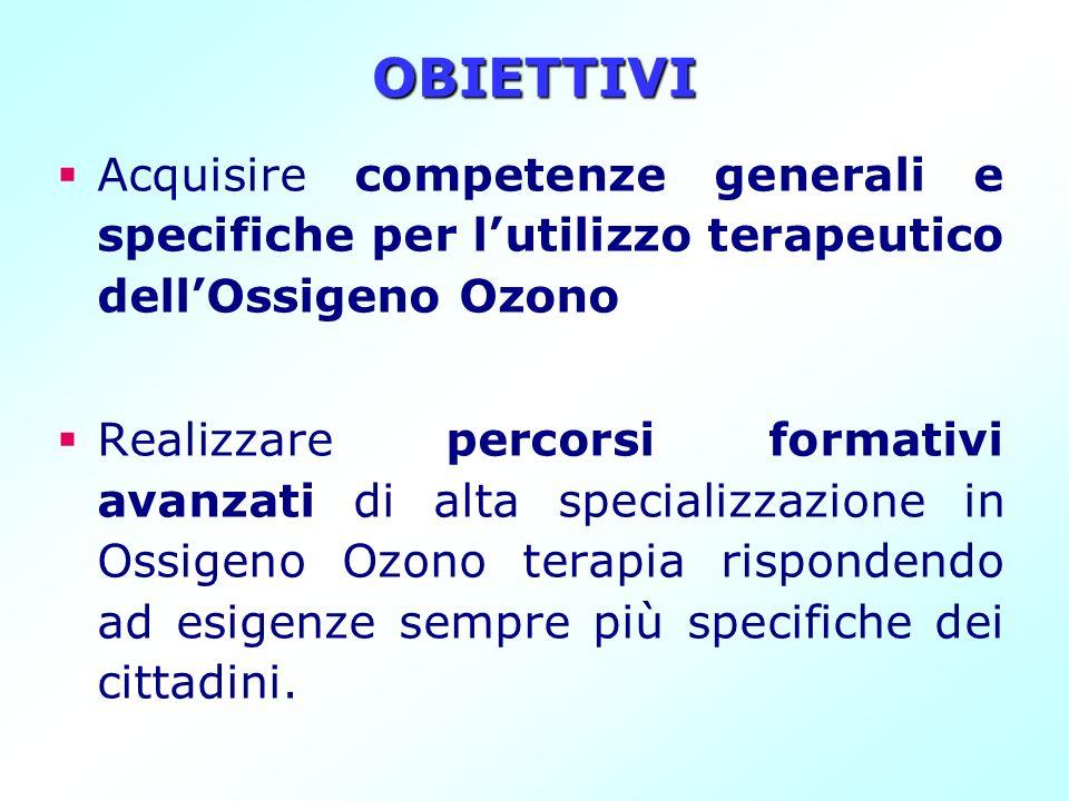 OBIETTIVIAcquisire competenze generali e specifiche per l'utilizzo terapeutico dell'Ossigeno Ozono.