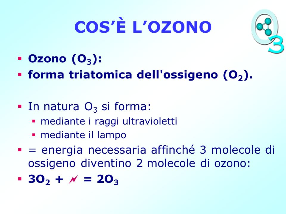 COS'È L'OZONO Ozono (O3): forma triatomica dell ossigeno (O2).