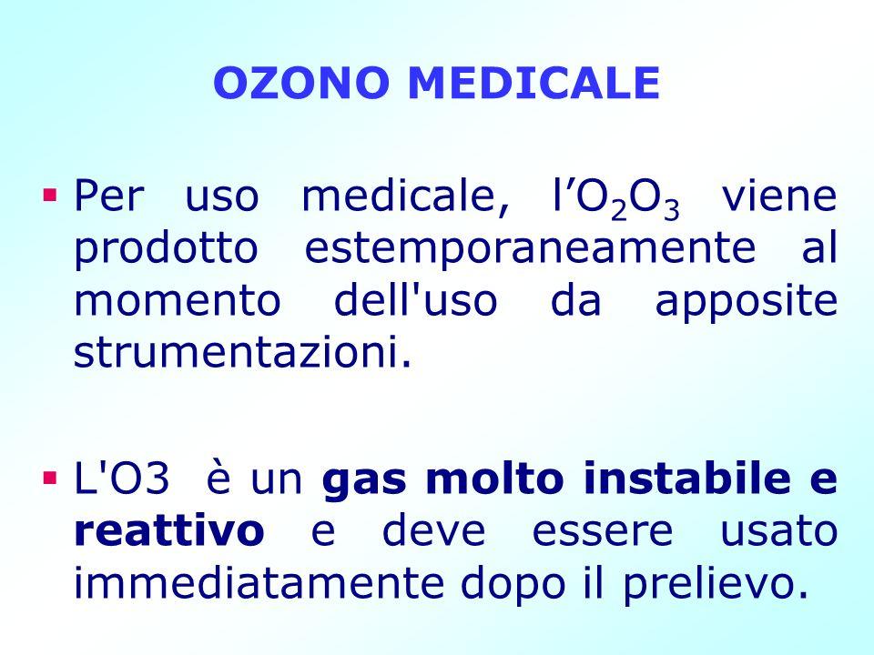 OZONO MEDICALEPer uso medicale, l'O2O3 viene prodotto estemporaneamente al momento dell uso da apposite strumentazioni.