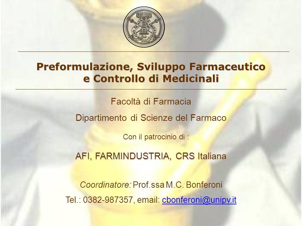 Preformulazione, Sviluppo Farmaceutico e Controllo di Medicinali