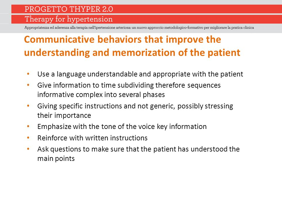 Communicative behaviors that improve the understanding and memorization of the patient